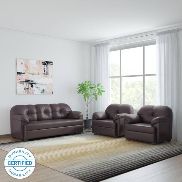 Bharat Lifestyle Brooklyn Leatherette 3 + 1 + 1 Brown Sofa Set