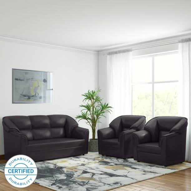 Bharat Lifestyle Riyan Leatherette 3 + 1 + 1 Brown Sofa Set