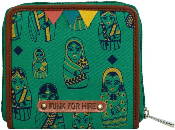 FUNK FOR HIRE Women Green Canvas Wallet