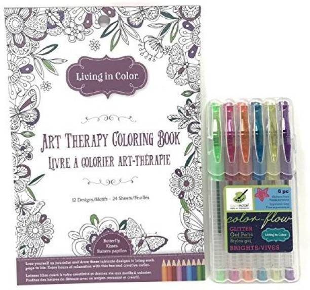 Color Factory Living In Butterfly Kisses Art Therapy Coloring Book And 6 Pc Flow