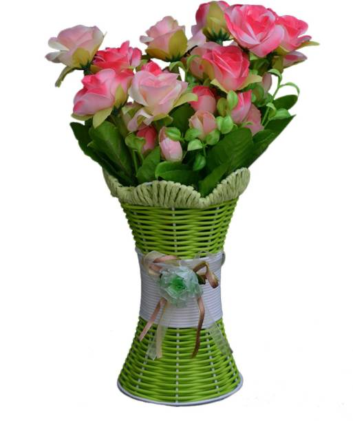 SKY TRENDS Artificial Flowers with Flower Pot   Flower vase for Home Decoration   Flower Pot with Artificial Flowers-002 Plastic Vase
