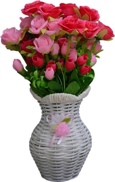 SKY TRENDS Artificial Flowers with Flower Pot | Flower vase for Home Decoration | Flower Pot with Artificial Flowers-053 Plastic Vase