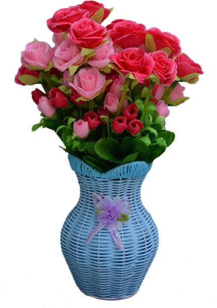 SKY TRENDS Artificial Flowers with Flower Pot | Flower vase for Home Decoration | Flower Pot with Artificial Flowers-051 Plastic Vase