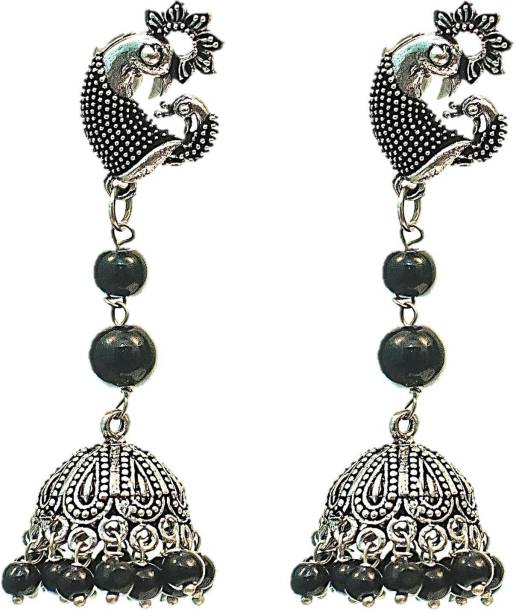 91bd5c8f0 Muccasacra Stylish Peacock design Black stone studded Earring With Jhumki  Beads German Silver Stud Earring
