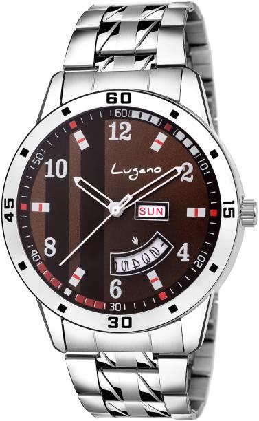 2281ec07de7 Lugano LG 1168 Tremendous   Stylish Brown Dial Day   Date Analog Watch - For  Men