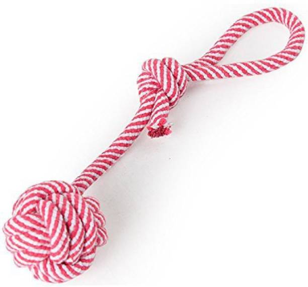 FOODIE PUPPIES Cotton Rope Dog Chew Toy 15 inches with 2 Knots and Contrast Color Cotton Ball - (Color May Vary) Cotton Chew Toy For Dog