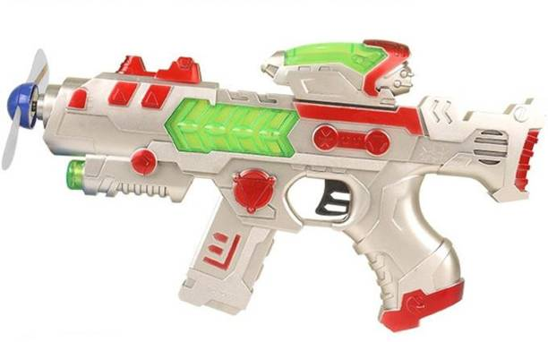 TALKING GANESHA Space Gun with LED Rotating Blades, Music, Infrared & Vibration Toy Gun