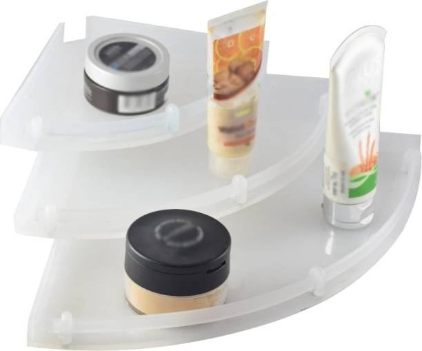 PESCA Unbreakable Premium Corner Set Plastic Bathroom Corner Shelves (Pack Of 3) Acrylic Wall Shelf
