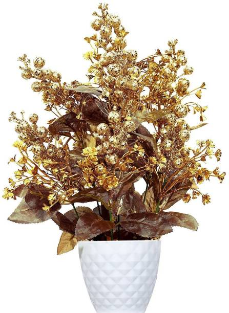 Delmohut Beautiful Artificial Flower Pot with Vase for Home Decor/Hotel Decor/Office Decor/Gifts - Finest Quality Gold Assorted Artificial Flower  with Pot