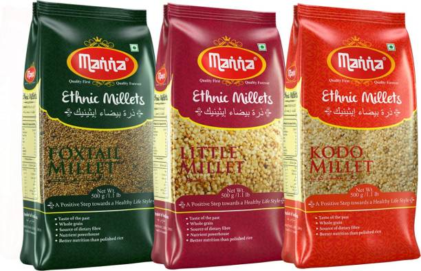 Manna Millets - Natural Grains Combo Pack of 3 | Foxtail 500g, Kodo 500g, Little 500g | Nutrient Powerhouse, High Protein & 100% More Fibre Than Rice Mixed Millet