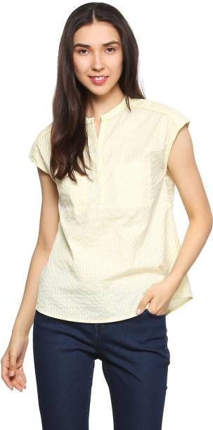 ef855db727ca9 People Casual Cap Sleeve Checkered Women s Yellow Top