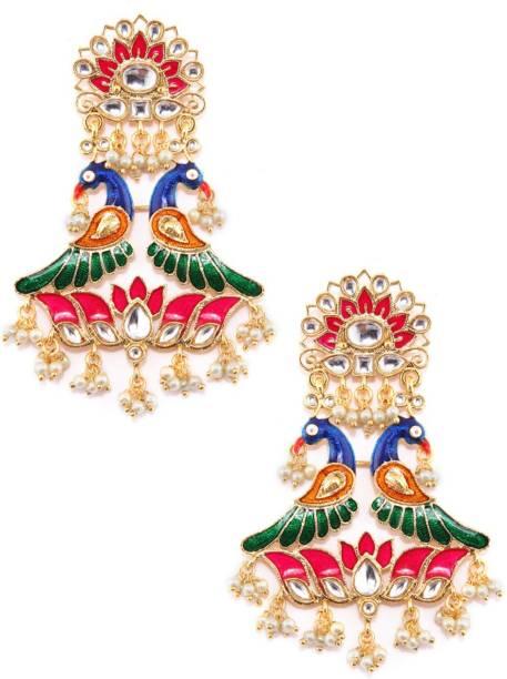 95e46ca1ec RUBANS Gold Toned Kundan Enamel Handpainted Peacock Chandelier Earrings  Brass Chandelier Earring