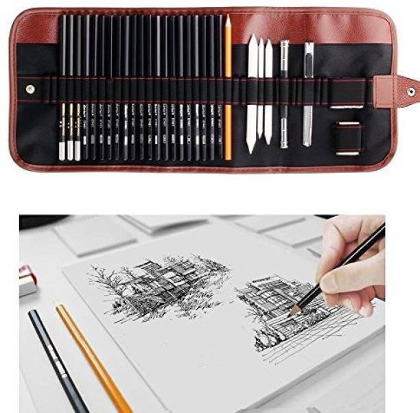 Dowswin 18 Pieces Pen Charcoal Sketch Set Sketching Pencil Set Of Pencils Eraser Craft Knife Pencil