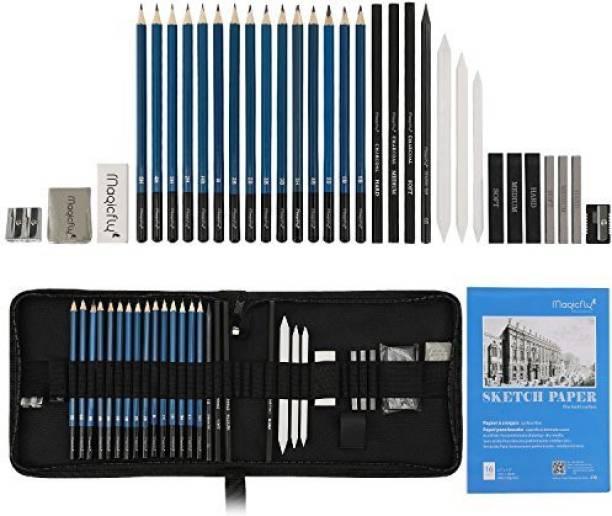 Magicfly Charcoal Pencil Set, 33 Pcs Professional Sketching Pencils, Complete Graphite Drawing Pencils Artist