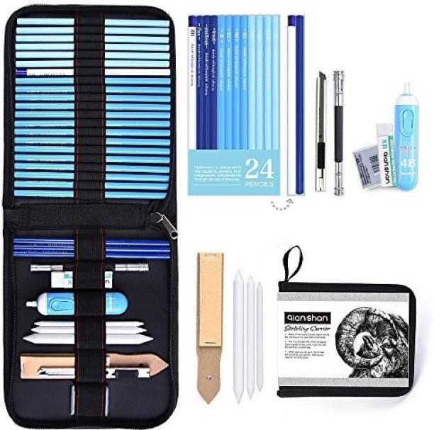 Qianshan 34Pcs Art Supplies Graphite & Charcoal Pencils Set, Studio Includes Sketch Pencils Pencil Case