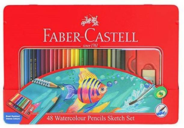 FABER-CASTELL 48 Water Color Pencils Sketch Set In Metal Tin (48 Colors)