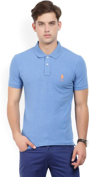 U.S. Polo Assn Solid Men's Polo Neck Blue T-Shirt