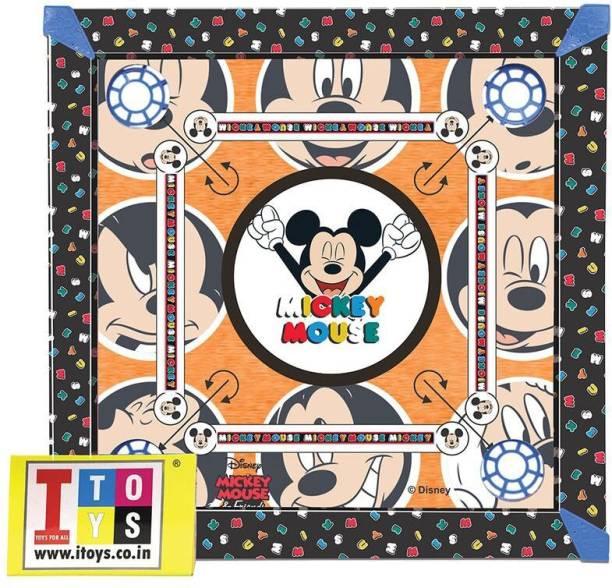 DISNEY Mickey & Friends Carrom, Snakes & Ladders 20x20 size 2-in-1 Carrom Board Board Game