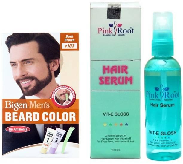 PINKROOT Hair Serum and Bigen Men's Beard Color B103 (Dark Brown)
