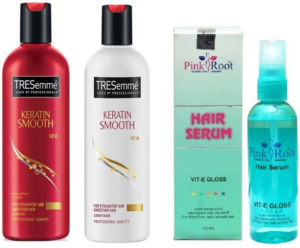 PINKROOT Hair Serum (100ml) and TRESemme Keratin Smooth for Straightner and Smoother Hair Shampoo + Conditioner