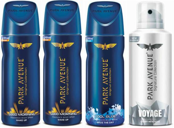 PARK AVENUE Two Good Morning, One Cool Blue, One Voyage Signature Deodorant Combo for Men(Pack of 4) Deodorant Spray  -  For Men