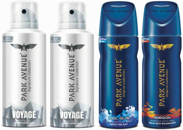 PARK AVENUE Two Voyage Signature, One Cool Blue, One Horizon Deodorant Combo for Men(Pack of 4) Deodorant Spray  -  For Men
