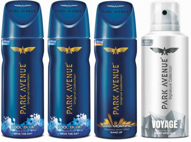 PARK AVENUE Two Cool Blue, One Good Morning, One Voyage Signature Deodorant Combo for Men(Pack of 4) Deodorant Spray  -  For Men