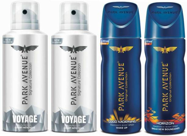 PARK AVENUE Two Voyage Signature, One Good Morning, One Horizon Deodorant Combo for Men(Pack of 4) Deodorant Spray  -  For Men