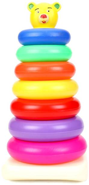 NILSEA , MMT Teddy 7 Rings (Big), Brilliant Basics Rock-a-Stack, Multicolor   Kids Learning, Stacking, Colors, Shapes, Designs