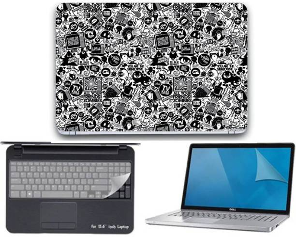 GALLERY 83 ® collage wallpaper 3 in 1 combo pack with laptop skin sticker decal, key guard, Screen protector all are laptop 15.6 inch Combo Set 3332 vinyl Laptop Decal 15.6 Combo Set