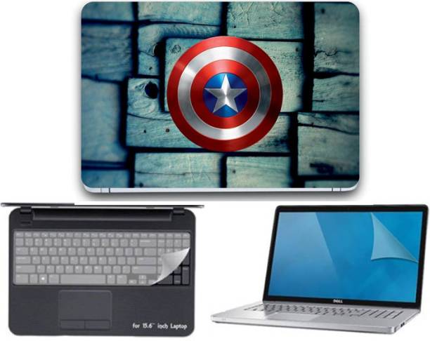 GALLERY 83 ® camptain america shield wallpaper 3 in 1 combo pack with laptop skin sticker decal, key guard, Screen protector all are laptop 15.6 inch Combo Set 3362 vinyl Laptop Decal 15.6 Combo Set