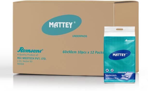 Mattey Disposable Underpads, 60x90 cm, 10 Pcs/Pack (Pack of 12) 120 Pcs Adult Diapers - L