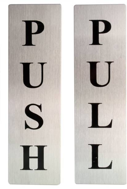 Vastra Self Adhesive Stainless Steel Push & Pull 1 Set Metal Door Sign