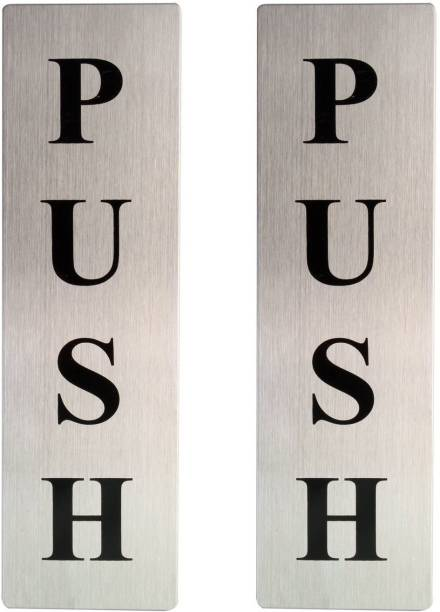 Vastra Self Adhesive Stainless Steel Metal PUSH 2 Pieces Metal Door Sign