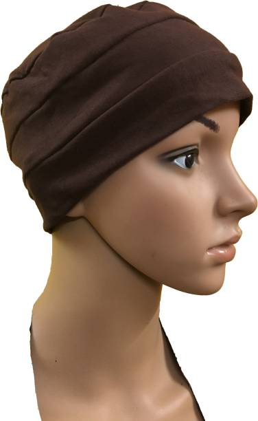 GIRIJA Solid BROWN CHEMO BEANIES CANCER CAPS WOMEN SUMMER CHEMO CAPS SLEEP  TURBAN FOR WOMEN UNDERSCARF 037913d685