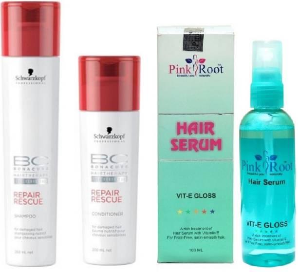 PINKROOT Hair Serum and Schwarzkopf BC BonaCure Repair Rescue Shampoo + Conditioner