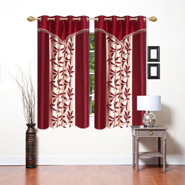 High Quality Ville Style 153 Cm (5 Ft) Polyester Window Curtain (Pack Of 2)