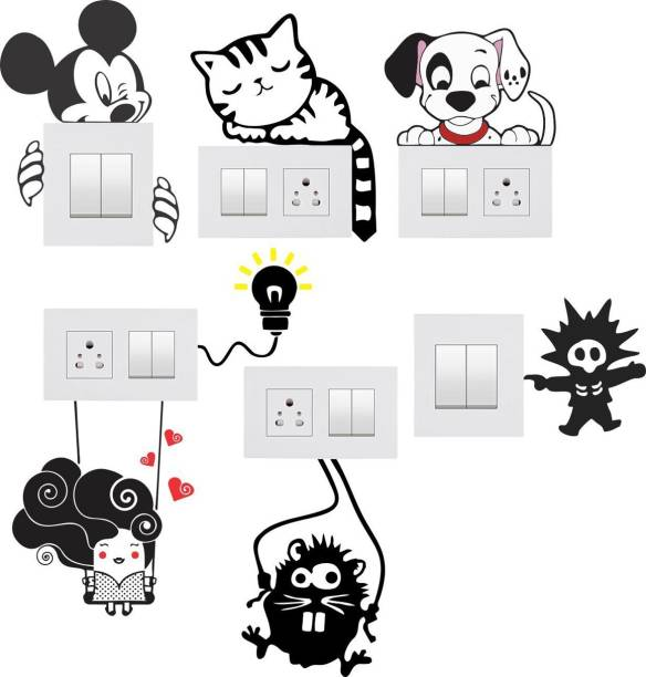 Pixel Print Medium Wall Sticker, Wall Art, Fridge Sticker (Light Switches Board Sticker) Set of 7