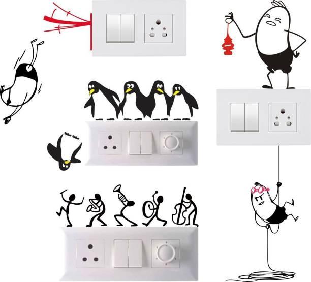 Pixel Print Medium Pixel Print Funny Cartoon Light Switch Board Wall Sticker/ Wall Decals/ Fridge Sticker For Home, Office & Home Decor