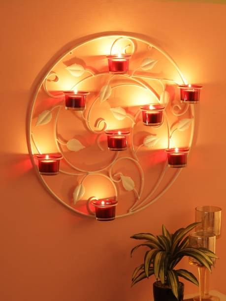 Trendy ILE Round Wall Sconce iron tealight candle holders with 8 glass cup (white) (WHITE) Iron 8 - Cup Tealight Holder