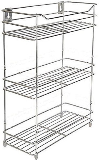 Omic Mirror Finish Stainless Steel Wall Mounted Multipurpose Storage Shelf  Triple (3 Tier)