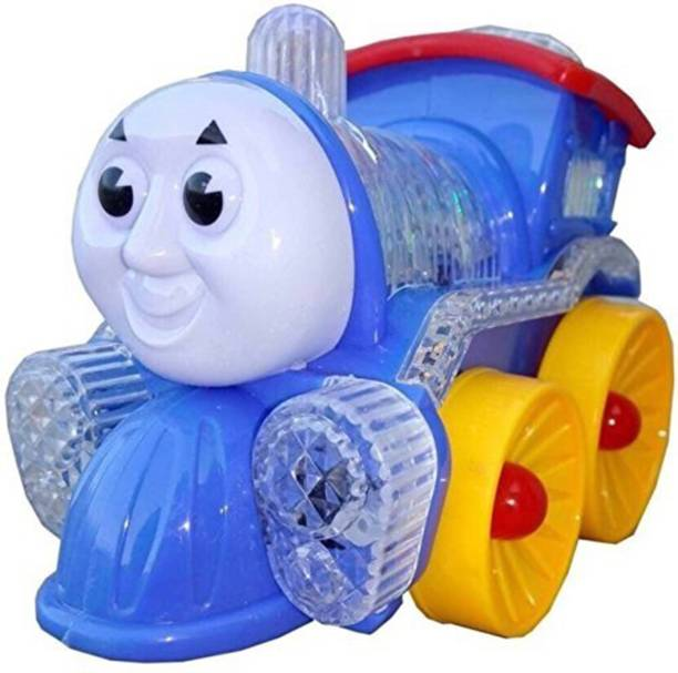 Atorakushon atorakushon® locomotive engine Thomas Engine Bump and Go action Funny Loco, Musical Train Engine Toy for kids and Toddlers with 4D light and sound Projector Light with Real Engine Sound for Kids Birthday Gifts Toy Kid Children Infant Multicolor Battery Operated