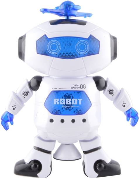 Atorakushon atorakushon® Dancing Robot sapphire robot with LED with Music Baby Toy with 360 Rotational 3D LED Lights standing for Kids Gifts Birthday Gift for Kids Toy Kid Children Infant love Birthday Gift Multicolor Battery Operated