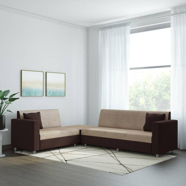 Bharat Lifestyle Fabric 6 Seater  Sofa