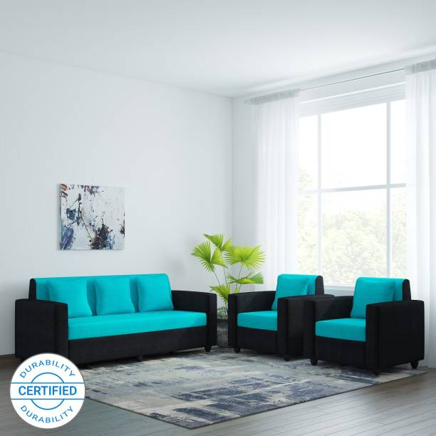 Bharat Lifestyle Desy Fabric 3 + 1 + 1 Aqua Black Sofa Set