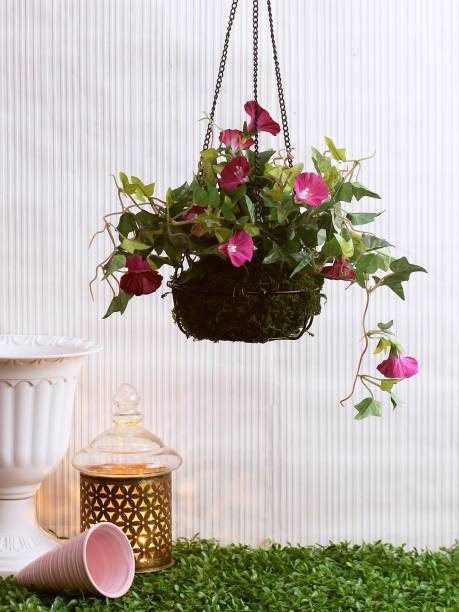 FOURWALLS Artificial Morning Glory Plant with Hanging Basket (40 cm, Purple, 192 Leaves) Wild Artificial Plant  with Pot