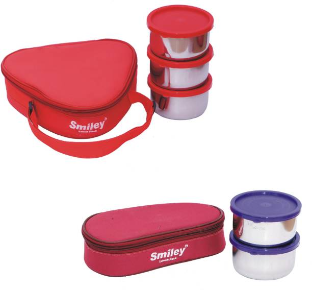 97315e28ba7 Smiley Combo Red Triangle   2 in 1 Maroon Lunch Box 5 Steel Containers 5  Containers