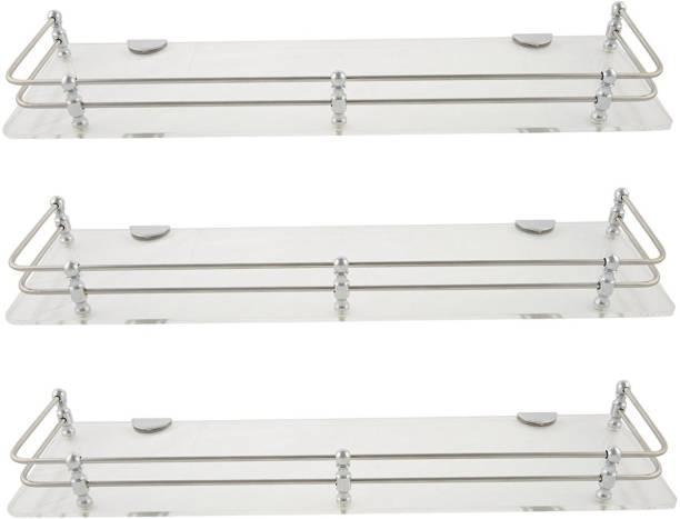 Spiry 18x6 Inch Unbreakable Clear Shelf Set Of 3 Acrylic Wall Shelf