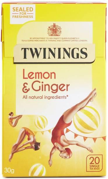 TWININGS Lemon & Ginger, 20 Tea Bags - 30g (20x1.5g) Lemon, Ginger Instant Tea Bags Box
