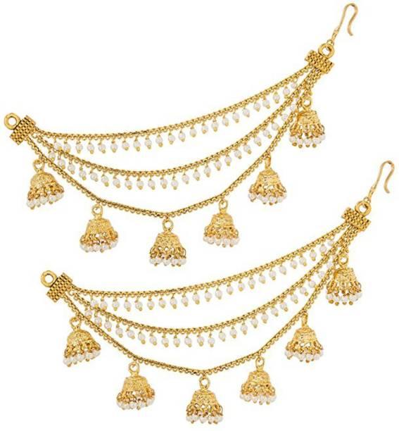 b10cf35e1 Pourni Pourni exclusive Gold Finish Very Classy Bahubali Devsena Pattern  Traditional Kaan Chain/Ear-